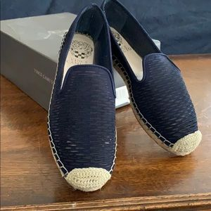 Vince Camino slip on navy leather espadrille